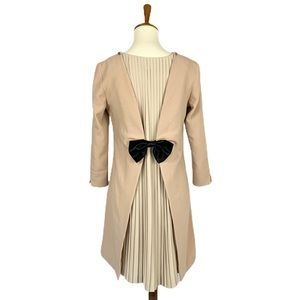 Original Pleated Bow Back Casual Dress
